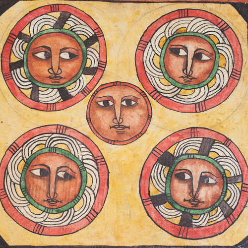 Images of face in circles